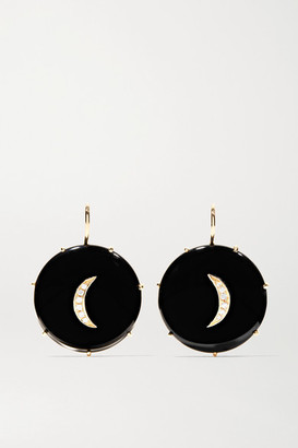 Andrea Fohrman 14-karat Gold, Onyx And Diamond Earrings - one size