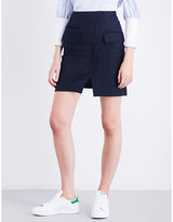 Sjyp Pinstriped fitted high-rise denim skirt