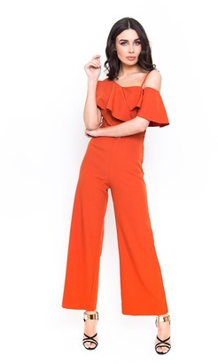 Candypants Outlet Belted Burnt Orange Jumpsuit with Frill Detail