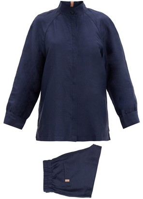Lunya - Resort Linen-blend Pyjama Set - Navy