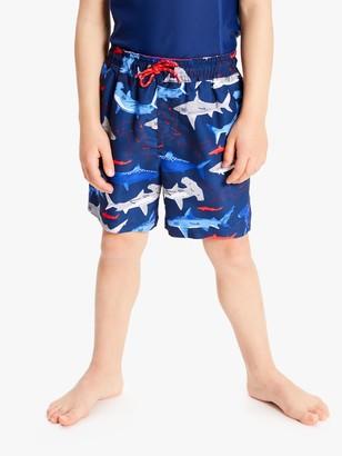 John Lewis & Partners Boys' Sharks Board Shorts, Blue