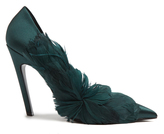 Balenciaga Feather-embellished satin pumps