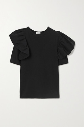 Dries Van Noten Ruffled Cotton-jersey T-shirt - Black