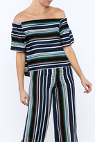 Alythea Navy Stripe Top