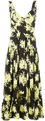 Proenza Schouler Splatter Floral Sleeveless Tiered Dress