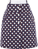 Carven Navy Twill Button-Front Skirt