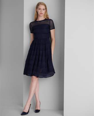 Ralph Lauren Silk Geometric-Lace Dress