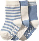 Joe Fresh Baby Boys' 3 Pack Assorted Crew Socks, Blue (Size 0-12)