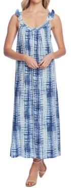 Vince Camuto Ruffle-Strap Linear Shibori Dress