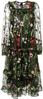 Odeeh floral embroidered sheer dress