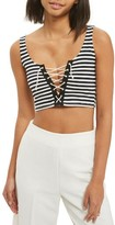 Topshop Petite Women's Lace-Up Stripe Bralet