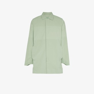 Descente Green Concealed Zip Front Coat