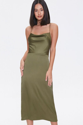 Forever 21 Satin Cowl Neck Midi Dress