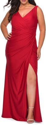 La Femme Ruched Jersey Trumpet Gown
