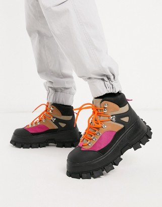 ASOS DESIGN lace up hiker boots in stone faux suede with colour pop detail on black chunky sole