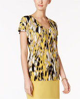 Kasper Ikat-Print V-Neck Top
