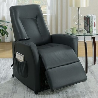 Red Barrel Studio Maid Power Lift Assist Recliner Upholstery Color: Black Faux Leather