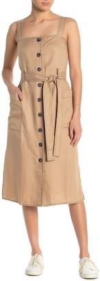 Moon River Contrast Stitch Button Front Midi Dress