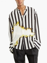 Haider Ackermann Striped Collarless Burnout Shirt