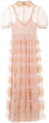 RED Valentino Point D'esprit Ruffled Dress