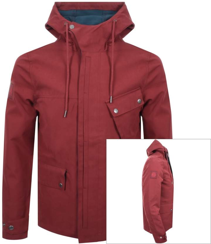 Pretty Green Hooded Contrast Jacket Red