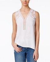 Maison Jules Sleeveless Lace-Trim Top, Only at Macy's