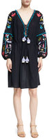 Figue Victoria Embroidered Peasant Dress, Navy