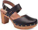Dansko Dotty Leather Studded Slingback Buckle Wood Heel Clogs