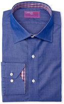 Lorenzo Uomo Chambray & Pink Plaid Trim Fit Dress Shirt