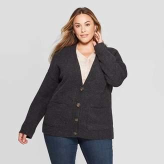 Universal Thread Women's Plus Size Long Sleeve V-Neck Short Grandpa Cardigan