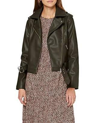 New Look Women's Faith Belted PU Biker Jacket,(Size:)