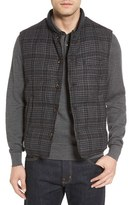 Luciano Barbera Men's Channel Quilted Glen Plaid Wool Blend Vest