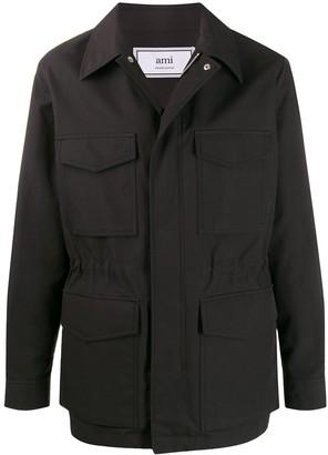 Ami Paris Patch Pocket Bonded Parka Jacket