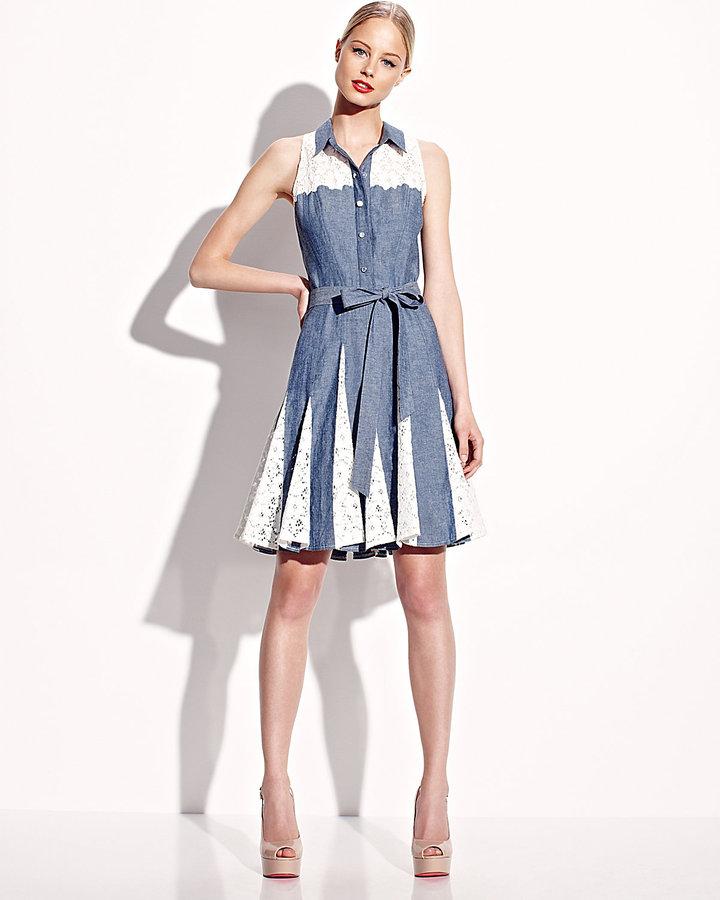 Betsey Johnson Chambray Sleeveless Dress With Lace