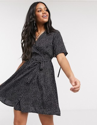 Influence wrap dress with tie sleeve in lilac spot print