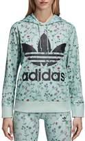 adidas Floral Print Logo Hooded Sweatshirt