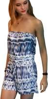 ECOWISH Women's Floral Print Strapless Off Shoulder Romper Playsuit Jumpsuit