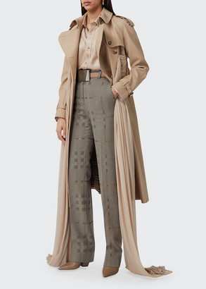 Burberry Plaid Wool-Blend Straight-Leg Trousers
