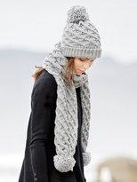 M&Co Cable knit pom pom scarf