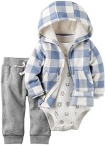 Carter's 3 Piece Plaid Cardigan Set (Baby) - Blue - 18 Months