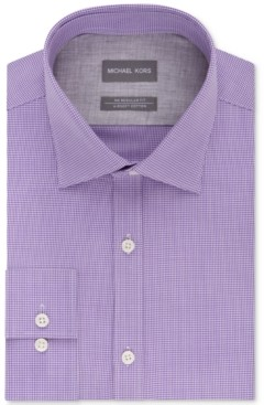 Michael Kors Men's Classic/Regular Fit Non-Iron Airsoft Stretch Performance Check Dress Shirt, Online Exclusive
