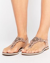 Dune Lill Nude Laser Cut Detail Toe Post Sandals