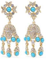 Kenneth Jay Lane Gold-Tone Crystal And Stone Clip Earrings