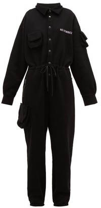 Natasha Zinko Logo Print Cotton Blend Jersey Jumpsuit - Womens - Black