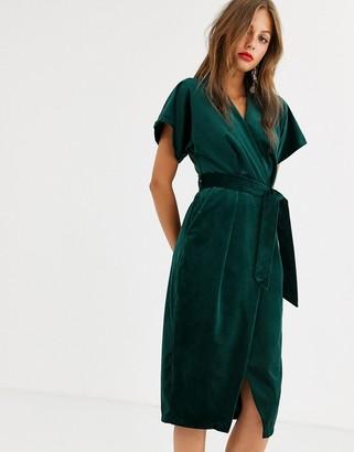 Closet London wrap tie velvet midi dress in emerald green