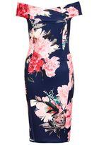 Quiz Navy And Pink Flower Print Bardot Midi Dress