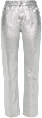 MSGM Metallic Coated High-rise Straight-leg Jeans