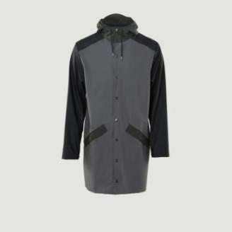 Rains Charcoal Black Color Block Long Jacket - XS/S