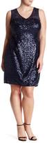 Marina Sleeveless Illusion Embellished Dress (Plus Size)