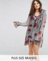 Religion Plus Long Sleeve Rose Print Shift Dress With Ruffle Neck And Hem